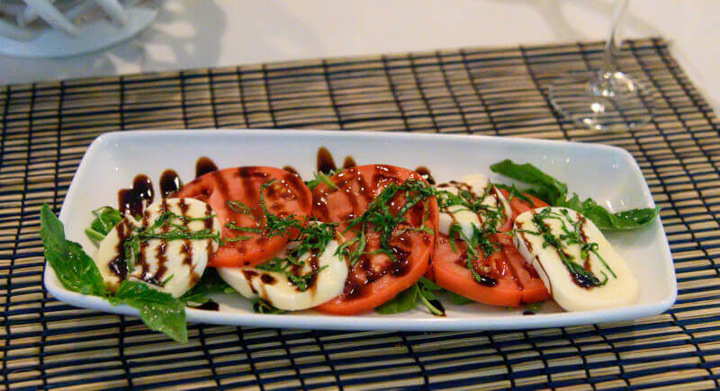 Caprese Salad Drizzled with Balsamic Glaze (Pinot Grigio White Wine)